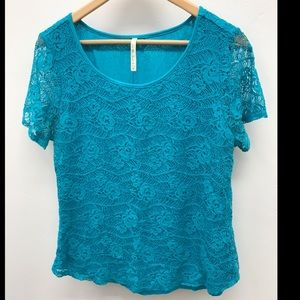 Lace T-Shirt Turquoise- M